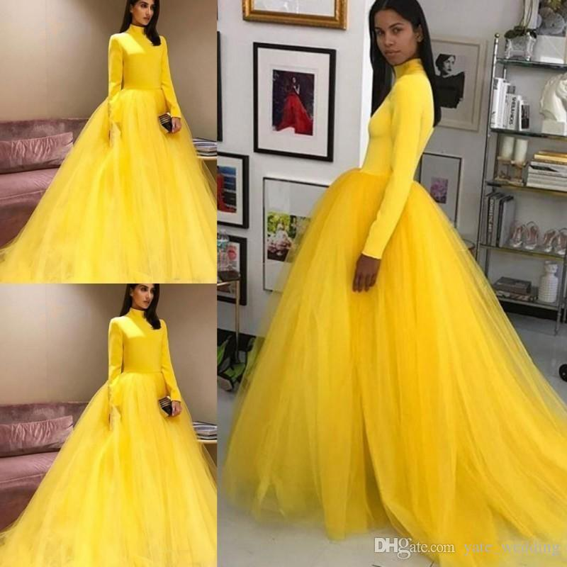 Fashion Bright Yellow Evening Dresses Elegant High Neck A Line Long Sleeves ZipperBack Floor Length Tulle Long Prom Dresses Women Party Gown