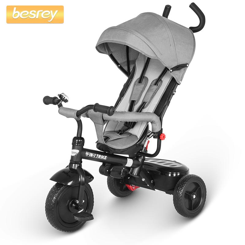 Besrey Kids 4 in 1 Tricycle Trike Push Three-wheeled Stroller Baby Tricycle Seat and Riding for Children pram