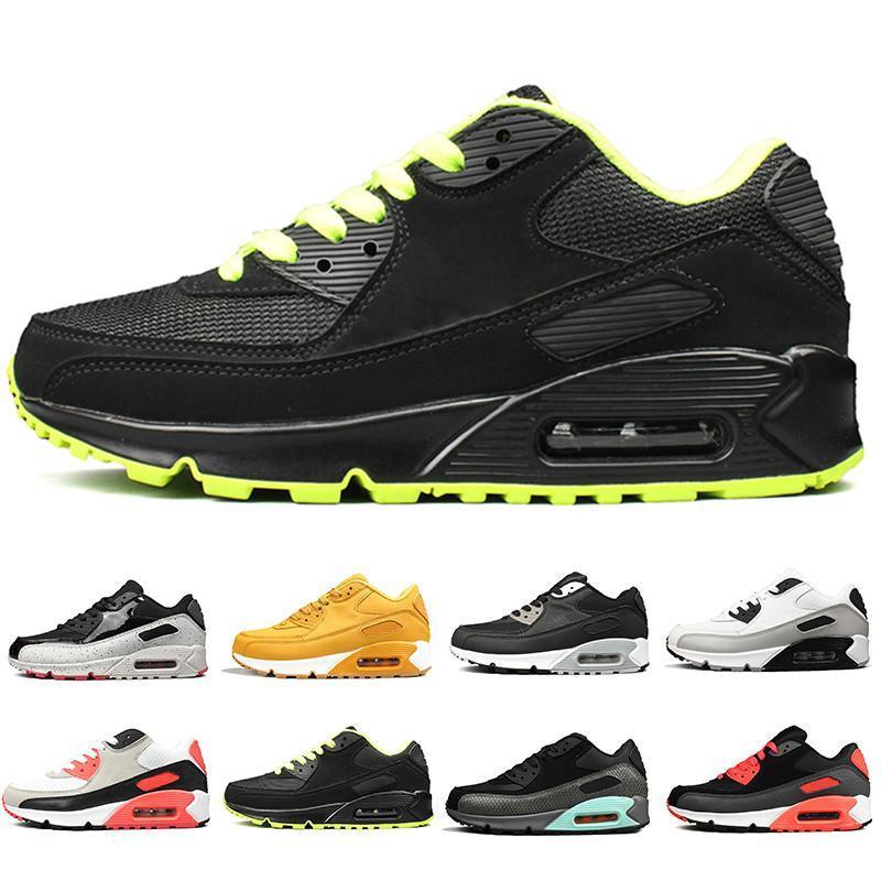 2019 OG Triple negro Hombres mujeres Zapatos para correr Clásico Amarillo rojo trigo 90s Zapatillas de deporte Cojín de aire Superficie transpirable