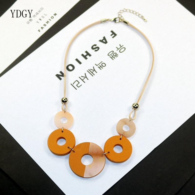YDGY2019 Simple Temperament Wax Rope Chain Mixed Color Resin Wood Collision Ring Accessory Necklace Chain Wholesale