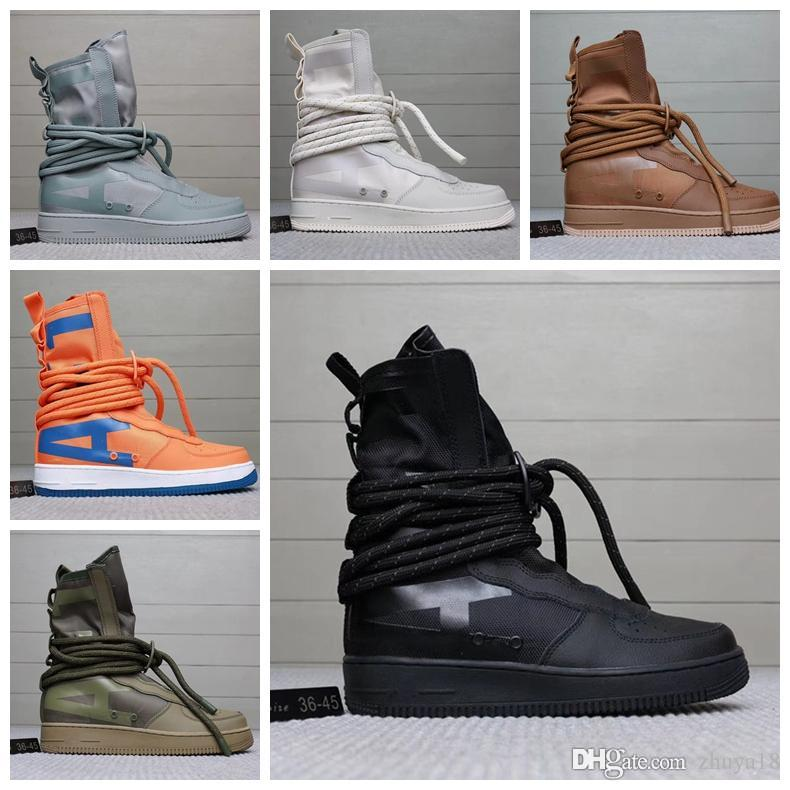 6b179caf1c32 2018 Fear Of God Special Field Mid SF Forces Hi Ultra Hight Top Military  Sneakers Men S And Women S Genuine Leather Casual Running Gold Shoes Mens  Casual ...
