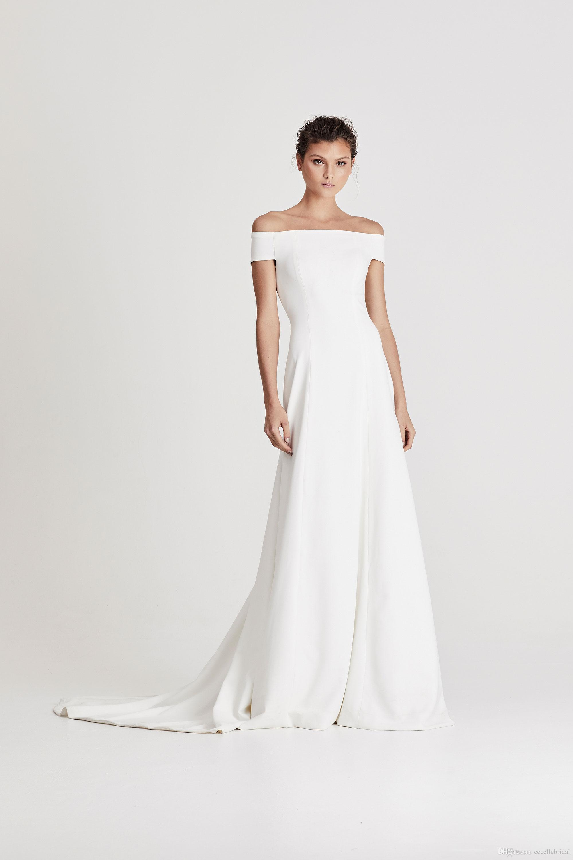 2019 New Simple Trumpet Crepe Wedding Dresses Off the Shoulder Simple  Elegant Boho Women Informal Beach Bridal Gowns Custom Made