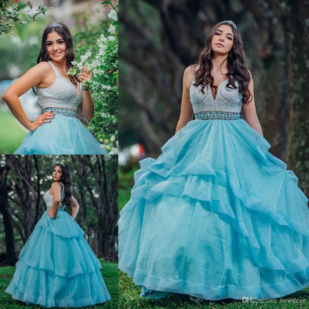 26509e0ca95 2019 Vintage Quinceanera Dresses Sleeveless Deep V Neck Beaded Sweet 16  Dress Vestidos 15 Anos Prom Wear Sexy Hollow Back Party Gowns What Is A  Quinceanera ...
