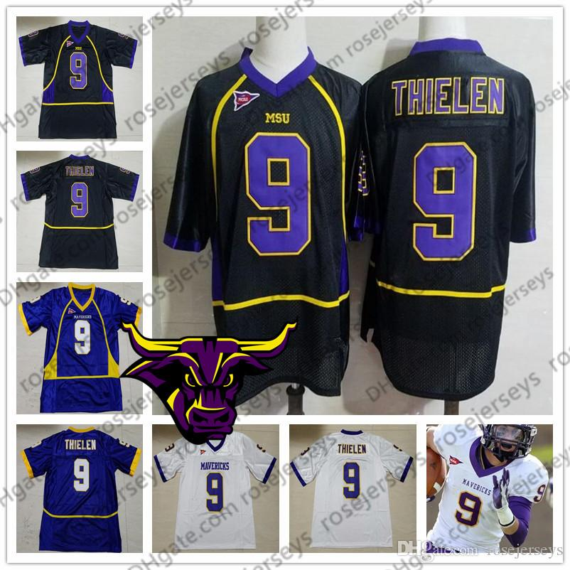 outlet store b8dce 4c98e MSU Mavericks #9 Adam Thielen Purple Black White Minnesota State Vintage  Jerseys Mens Womens Youth Kids NCAA College Football size S-4XL