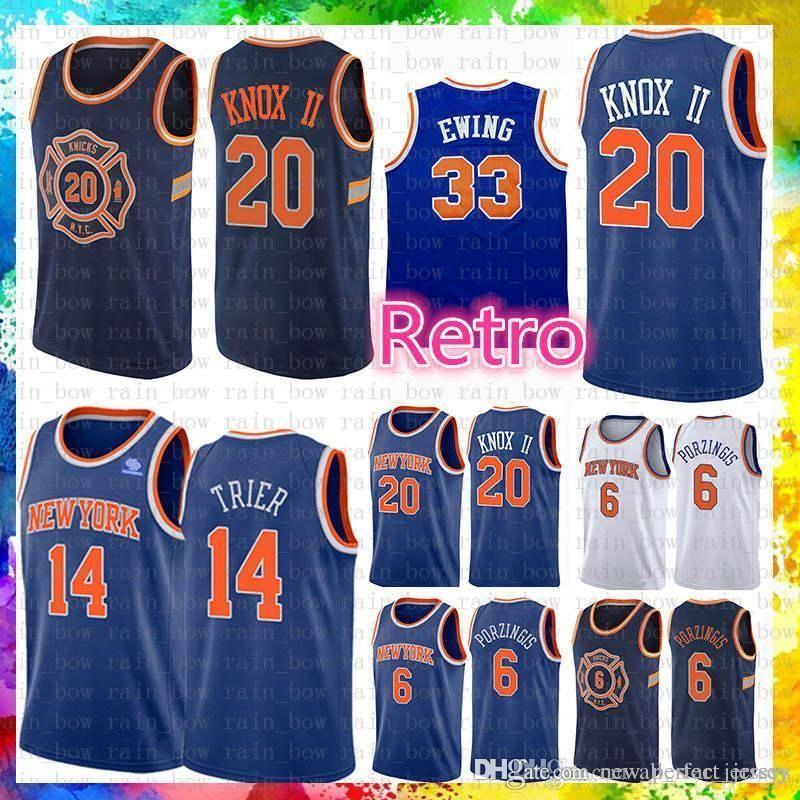 73c8f671bb6 2019 Patrick 33 Ewing Cheap Sale New York Jersey Knicks Kevin 20 Knox II  Allonzo 14 Trier Basketball Jerseys 2019 New The City Mesh Retro From ...