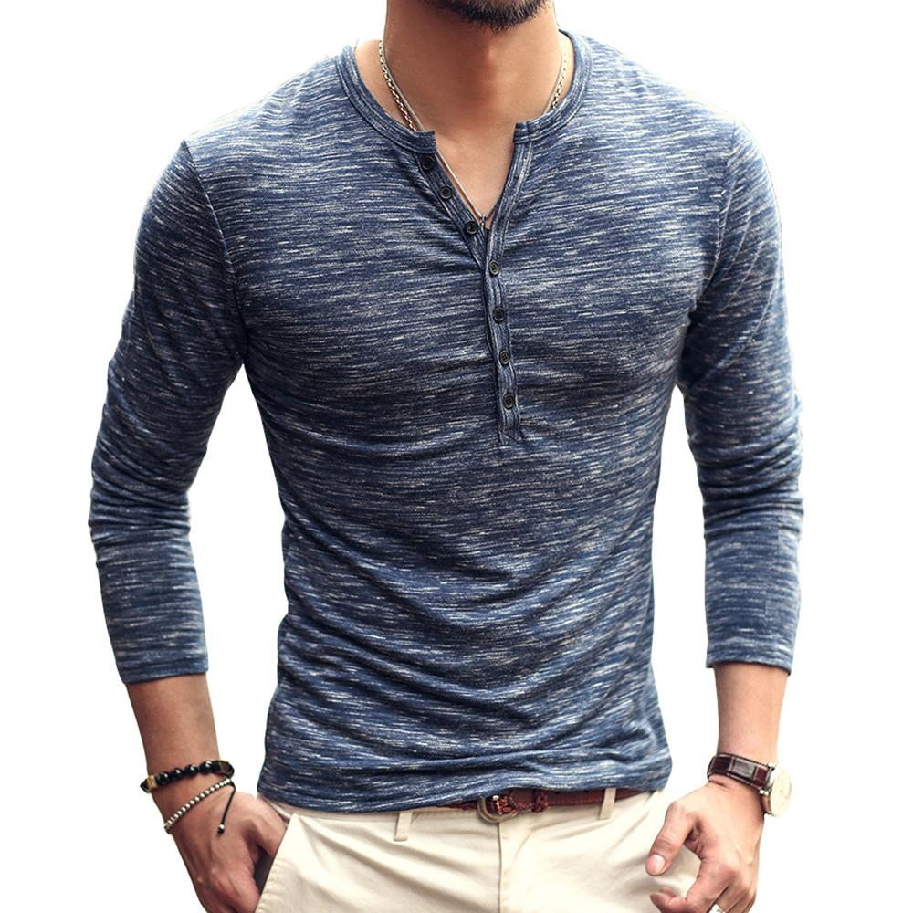f8db71f7 Men Casual Fit Slim Solid Color Tshirt V Neck Long Sleeve Basic Tops Button  Placket Bamboo Pattern Outwear Popular Henley Shirt Really Cool T Shirts  Online ...