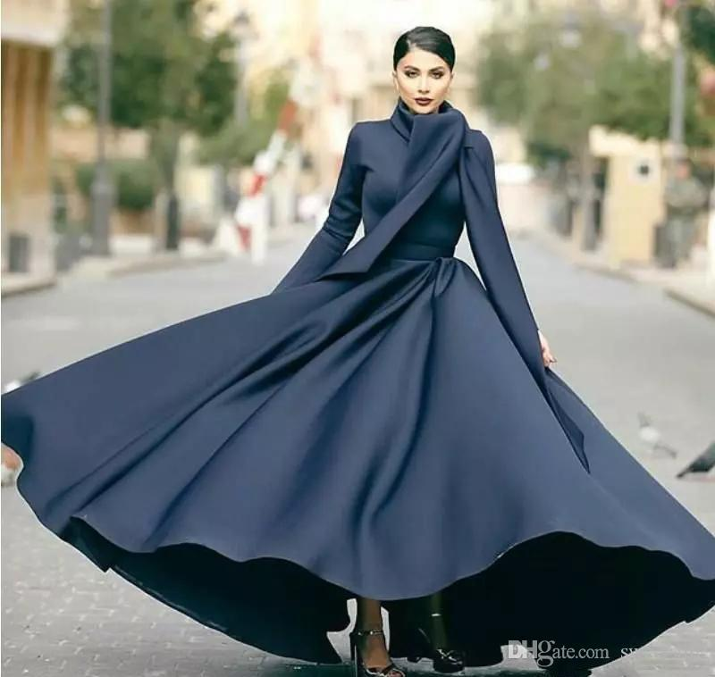 Simple Black A Line Modest Muslim Prom Dresses With Wrap High Neck Long  Sleeve Ruched Abric Dubai Formal Gown Satin Evening Maxi Dress Evening Wear  Dress ... 6021b77c8282