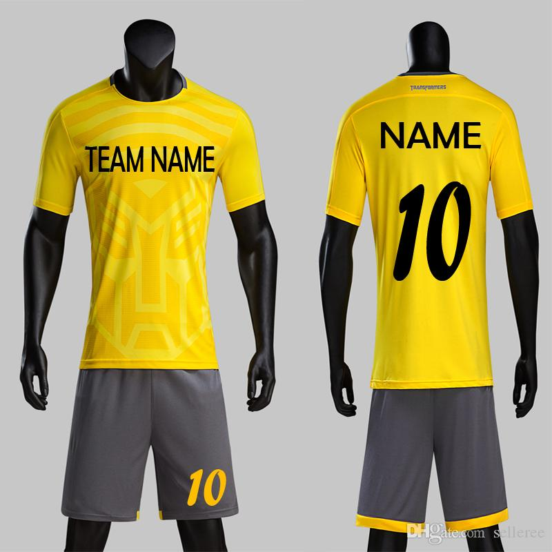 74bf5afaa1c3 2019 Yellow Color Soccer Jersey Sets Customize Uniforms Mens Sports  Trainning Football Team Name Number Kits Suits From Selleree