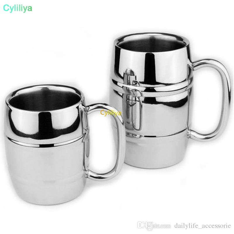 wholesale Double Barrel Double Wall Insulated Stainless Steel Beer and Coffee Mug Children Drinking Milk Cup