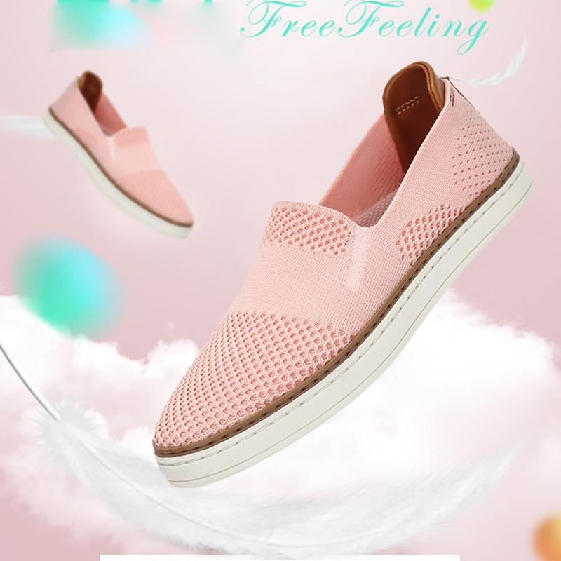 db166141c218 Acheter 2018 Pas Cher Mocassins Chaussures Femme Mouche Tricoter Légèrement  Flats Chaussures Femmes Rose Élégant Gril Étudiant Slip Sur Chaussures  Zapatos ...