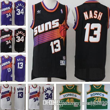 pretty nice 13bac c0574 cheap Men Phoenix Steve 13 Nash Jersey Suns Charles 34 Barkley jerseys size  S M L XL XXL