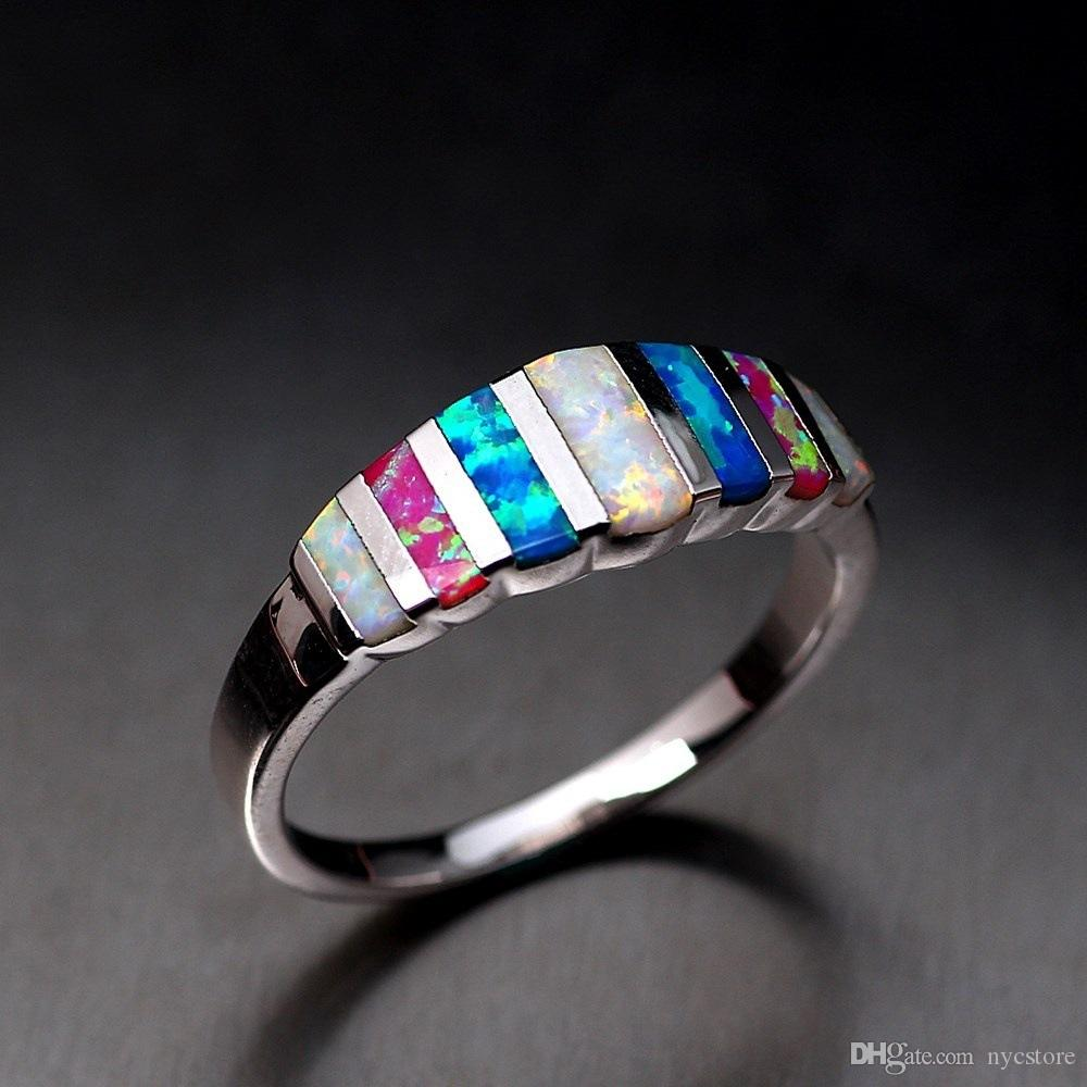 Colorful Fire Opal Zirconia Silver Color Wholesale Hot Sell Ring for Women Jewelry Wedding Ring