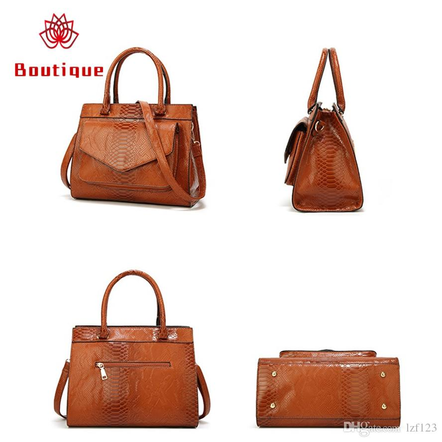 0cb9ee4d54 Women Brown Handbags Ladies Snake Skin Bags Women S Messenger Bags Brand  Designer Tote Bags Leather Shoulder Bag High Quality 2019 New Purses On  Sale Men ...