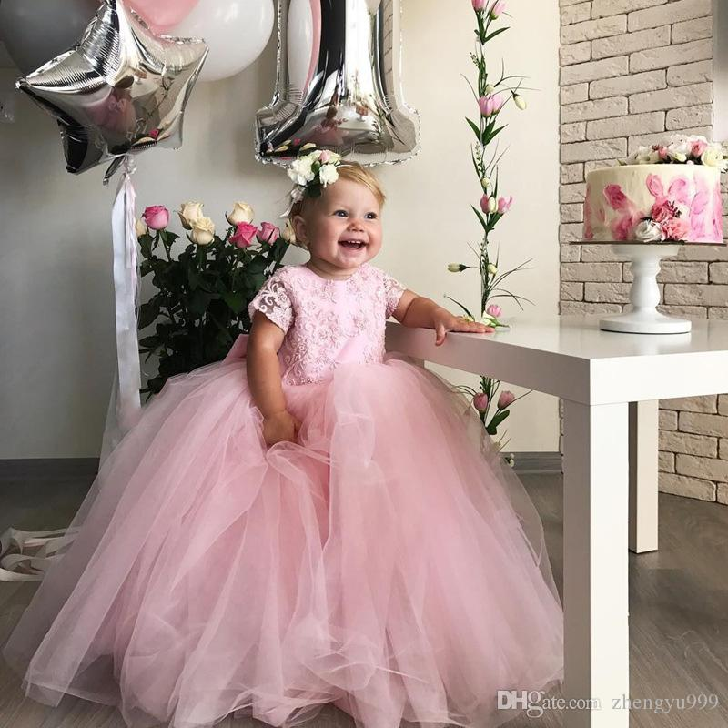e7ff14e08e9 2019 Tulle Little Kids Flower Girl Dresses Princess Crew Neck Lace Applique  Beaded Girls  Pageant Floor Length Formal Dresses