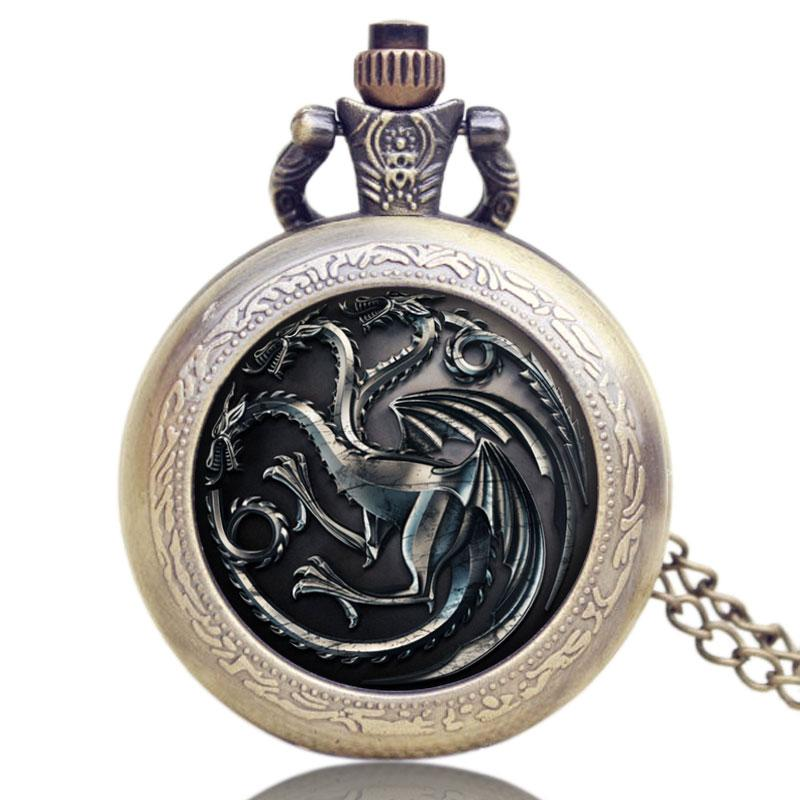 Game of Thrones Watch Evil Dragon Mark Mens Pocket Watch Vintage House Targaryen Full Hunter Necklace Pendant Gifts Fob Watches
