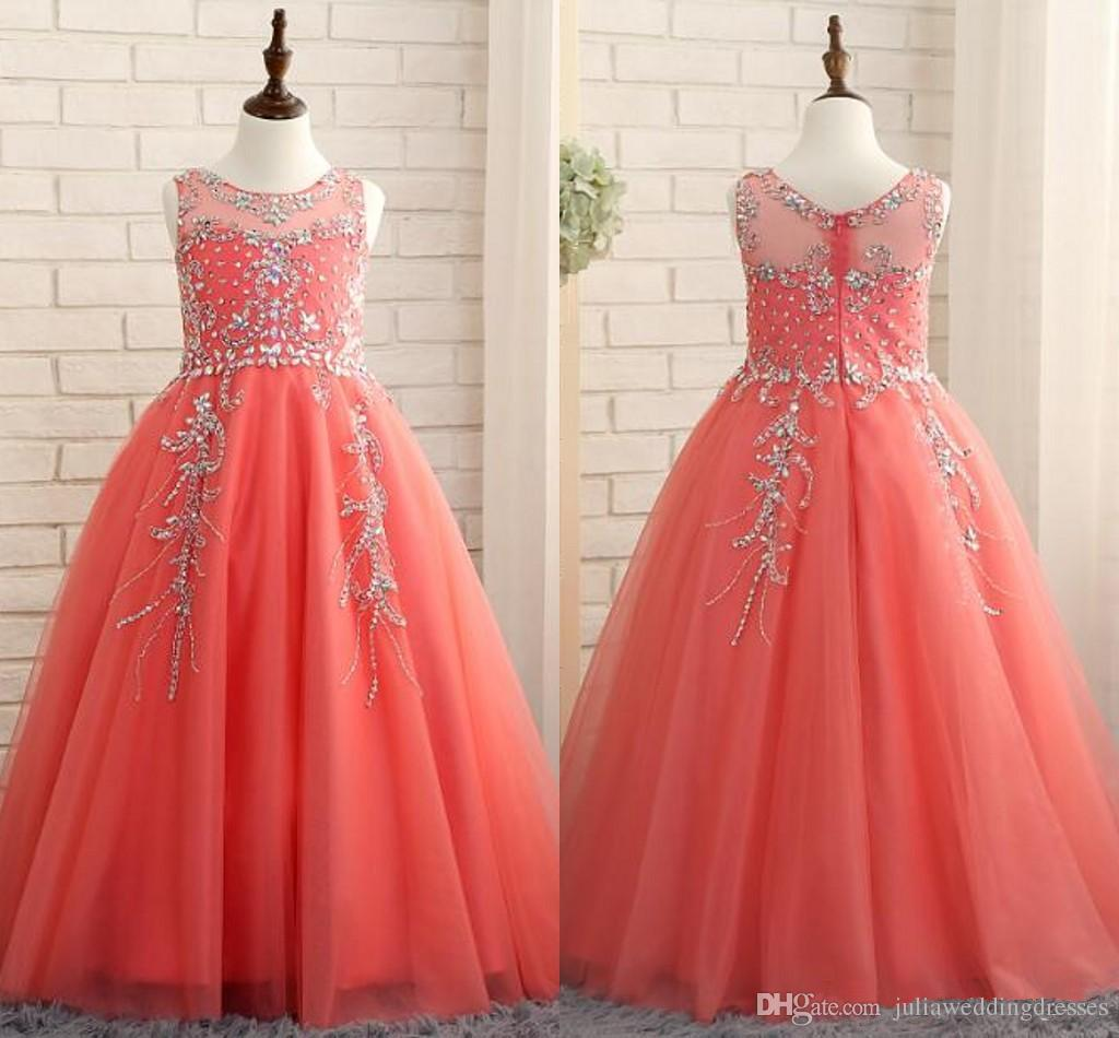 2019 New Coral Girls Pageant Dresses Princess Puffy Ball Gown Tulle Jewel  Crystal Beading Kids Flower Girls Dresses Birthday Gowns QC1310 Little Girl  ... f521153c908c