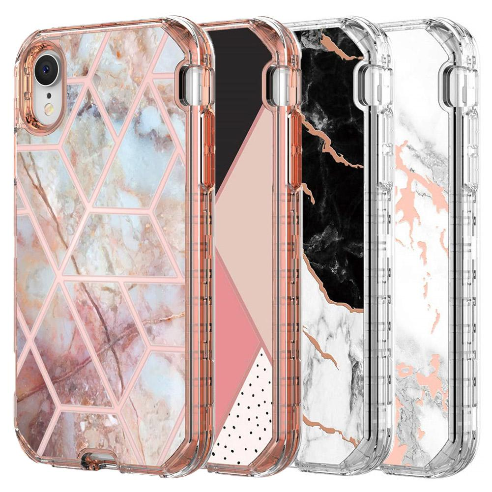 low priced 12767 06b8d For Iphone XR Case Luxury Marble 3 in 1 Heavy Duty Shockproof Full Body  Protection Cover Case For Iphone XR XS Max