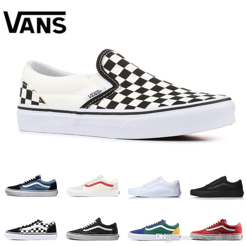 ff3c8560a0 Original Vans Old Skool Slip On Classic Men Women Canvas Sneakers  CHECKERBOARD Black White YACHT CLUB MARSHMALLOW Skateboard Casual Shoes  Designer Shoes ...