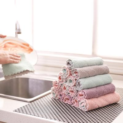Double-layer Absorbent Microfiber Kitchen Dish Cloth Home Cleaning Wiping Towel