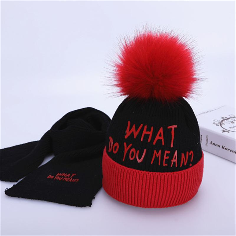2019 Kids Hat With Pom Pom Baby Caps Hats With Baby Scarf Knitted Scarf  Kids 2 10 Years Old Winter Boys And Girls Set From Sugarher 369502cdca2