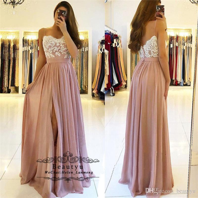 78e9023569ea Champagne Chiffon Long Prom Dresses 2019 Elegant A Line White Lace  Spaghetti Strap Slit Formal Prom Dress Evening Gown Vestidos De Fiesta Plus Prom  Dresses ...