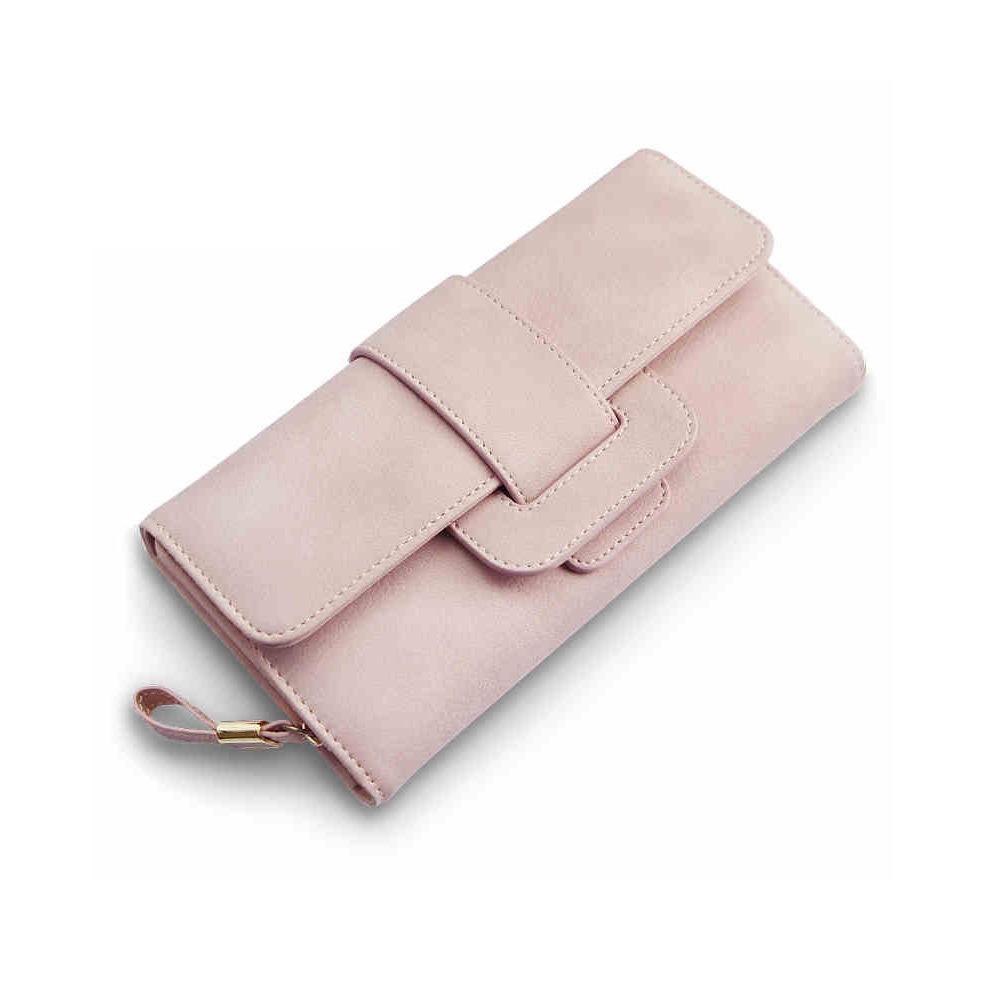 Women Wallet Matte Leather Multi Card Position Large Capacity Simple Draw Belt Buckle Three Fold Long La S Clutch Wallet Vegan Wallet Crocodile Wallet