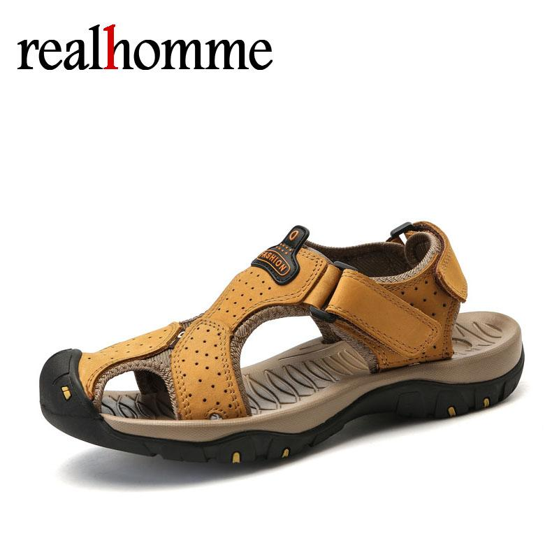 2964674a3515 Hot Men S Sandals High Quality Brand Shoes Beach Men Genuine Leather  Leisure Shoes Outdoor Waterproof Sandalet 2018 Summer Wedding Sandals  Walking Sandals ...