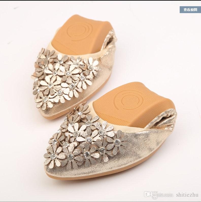 Top Quality Women Hot Crystal Flats Ballet Floral Wed Shoes ... 0f23ed6b36ee