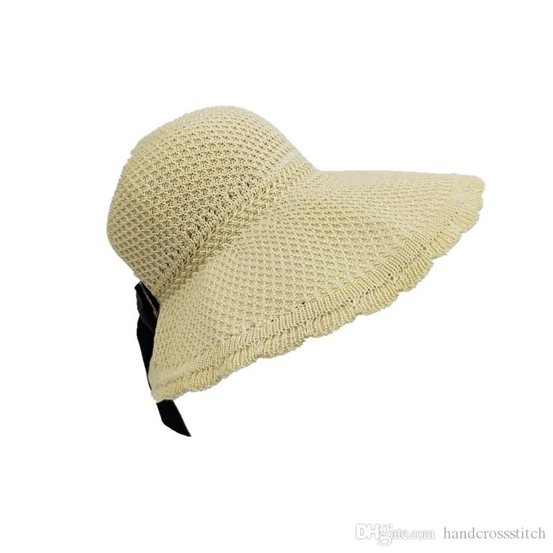 b319a20fb9d5e Bow Big Eave Beach Spring And Summer Sun Block Hat New Lafite Straw Hat  Ladies Holiday Beach Sun Protection Topless Sun Hat Woman Scala Hats  Wholesale Hats ...