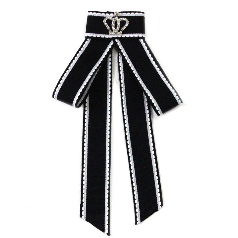 Women's Accessories Women's Ties & Handkerchiefs Women Girl British Style Classic Bowknot Brooch Pin Glitter Rhinestone Crown Decor Lace Trim Collar Shirt Dress Jewelry Necktie