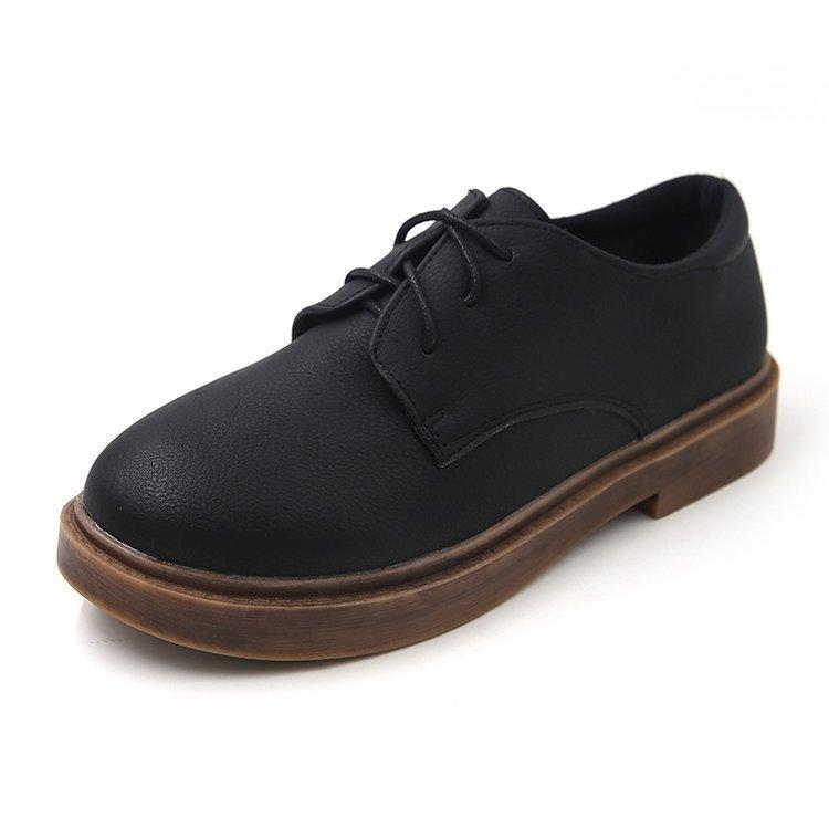 f59c7fba074 Women Square Heel Flat Platform Shoes Ladies Lace-up Oxford Shoes  Autumn  winter British Style Female Casual Vintage Black Flats