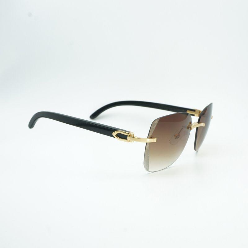 ca9dec10644a Vintage Diamond Cutting Rimless Wooden Sunglasses Men Black Mix ...