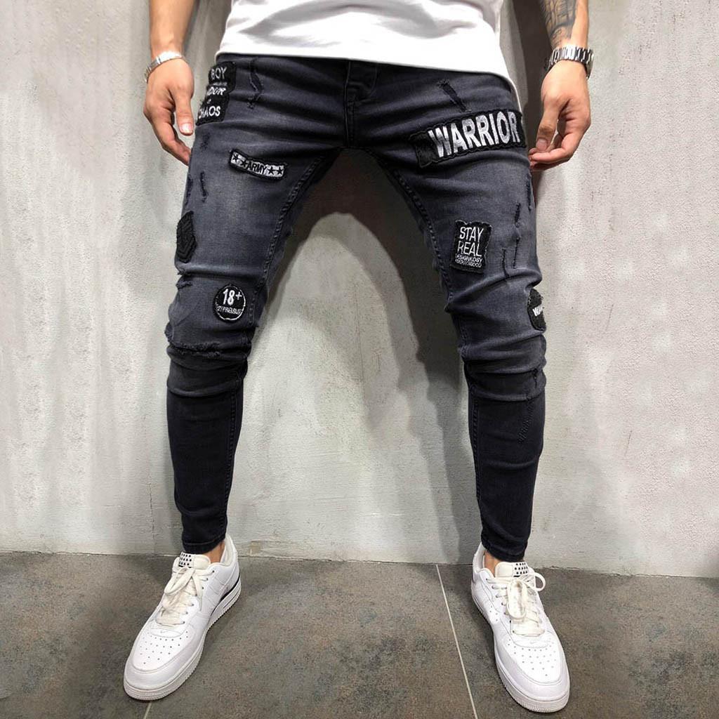 e2fbdc4f Ropa de hombre 2019 Skinny Jeans Pantalón vaquero para hombre Homme rotos  Distressed Ripped Freyed Slim Fit Pocket Jeans Pantalones VE7