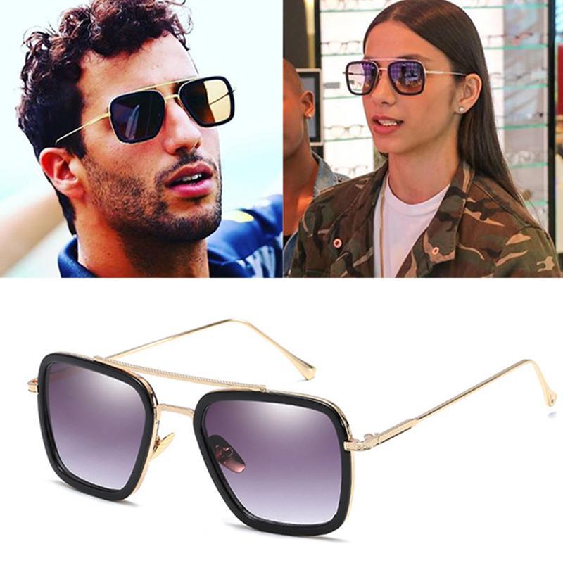 ec504d6812 Compre 2019 DPZ Moda Tony Stark Estilo De Vuelo Gafas De Sol Hombres Plaza  Aviación Marca Diseño Gafas De Sol Gafas De Sol Retro A $45.42 Del  Taihangshan ...