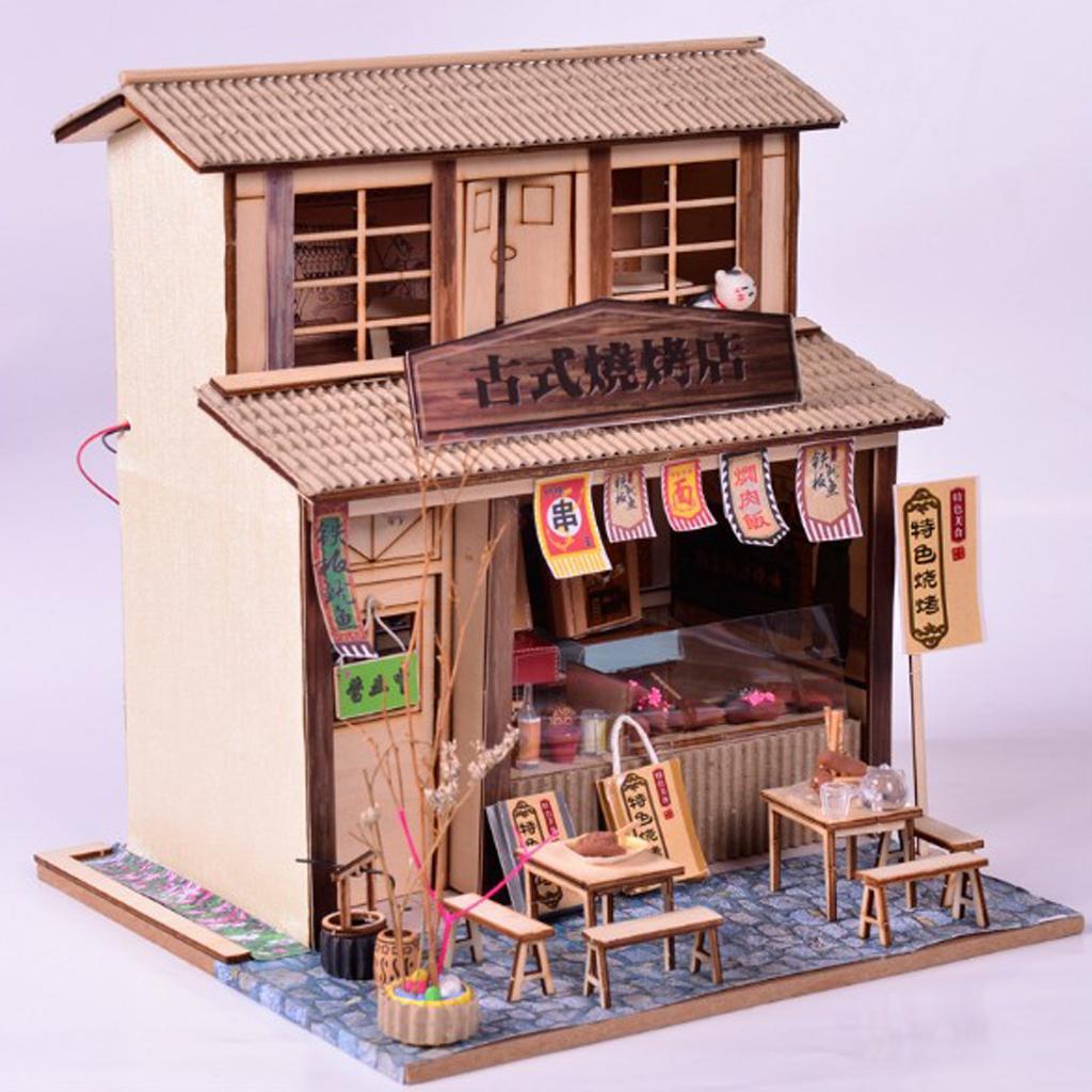 DIY Handcraft Miniature Project Wooden Dolls House Antique Barbecue Restaurant Kids Birthday Gift Wedding Dollhouse Furniture Doll