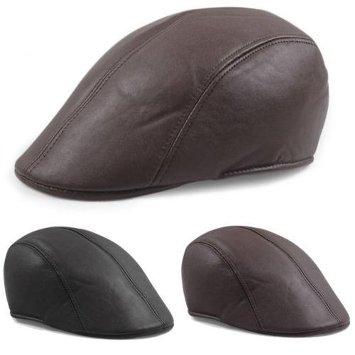 New Fashion Mens Leather Flat Ivy Cap Women Cabbie Golf Beret Hat