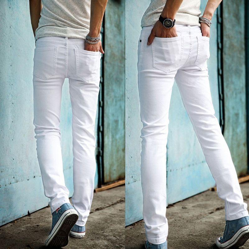 279a5b2a6b Compre Alta Calidad 2019 Moda Hombre Delgado Pantalones Vaqueros Blancos  Hombres Pantalones Casuales Para Hombre Pantalones Lápiz Flacos Niños Hip  Hop ...