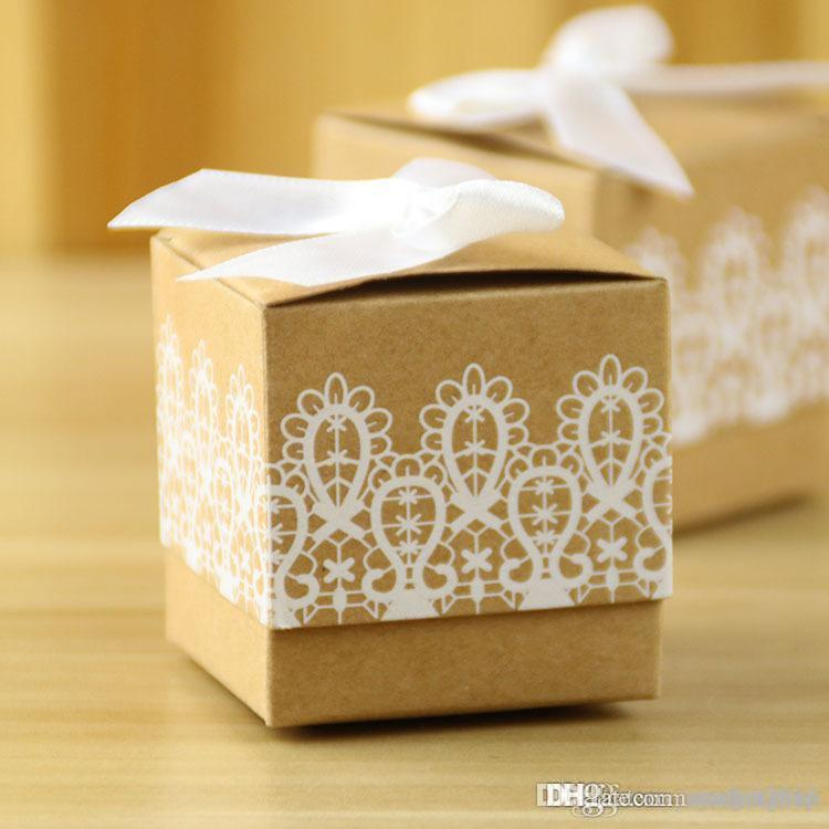 White Printing Wedding Candy Boxes with Bow 2017 Brown Party Gift Box Souvenirs Present Packing Bag Wedding Supplies