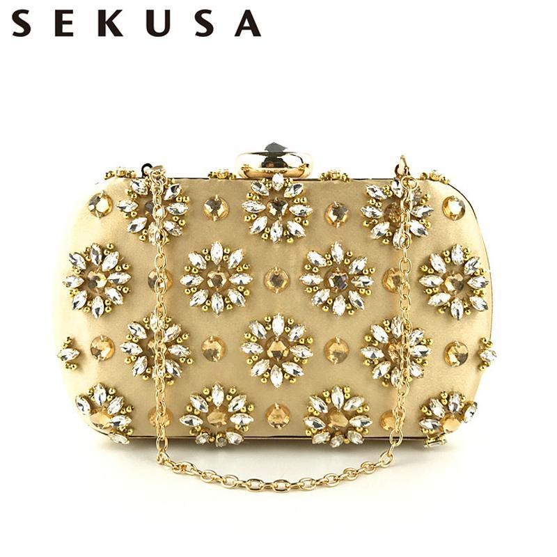 Sekusa Vintage Handmade Embroidery Beaded Women Clutches Diamonds