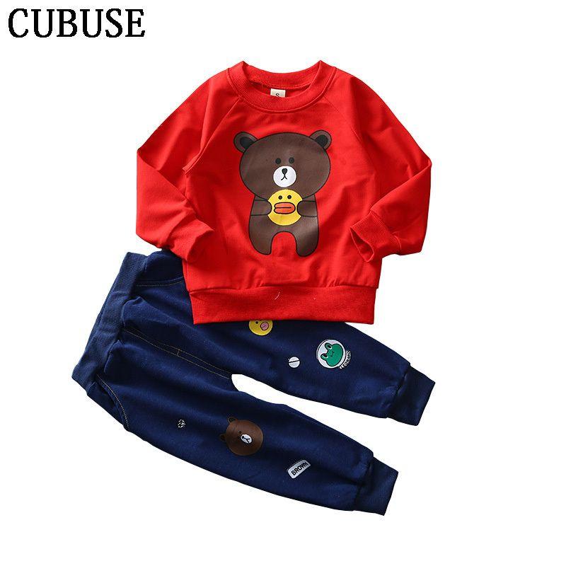 818b48b8e32c6 Acheter Dessin Animé Tshirt + Pantalons Vêtements Ensembles Pour Enfants  Vêtements Enfants Garçon Ours Capuche Bébé Fille Tenues Enfant Costumes De  Sport ...