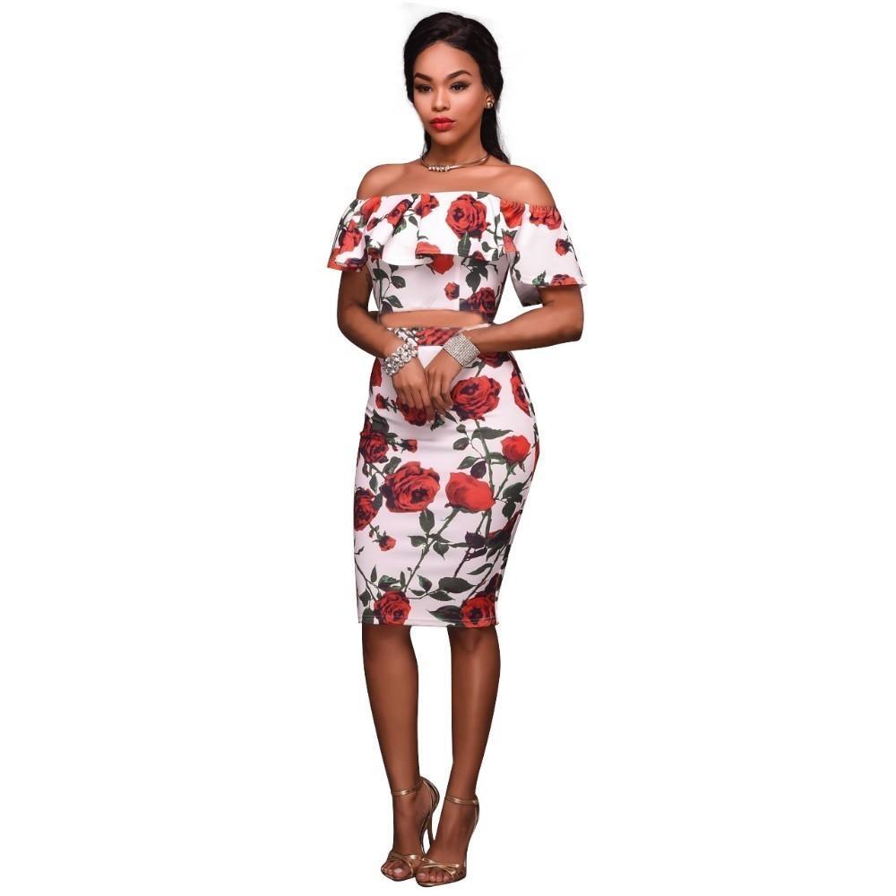 c0a72b9ba95 Dear Lover Off Shoulder Dress Ruffle Sheath Red Rose Print Frilled Women  Short Sleeve Boho Bodycon Dress Ladies Vestidos C19031601 Boutique Dresses  Black ...