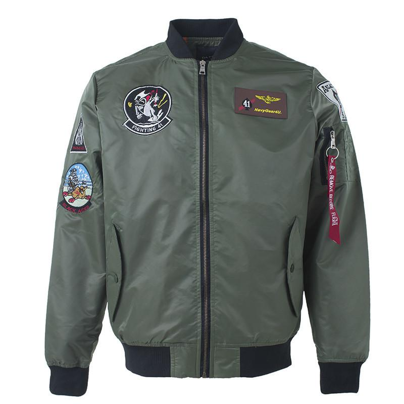 Top Gun Patch Ma-1 Tactical Bomber Jacket Military Embroidered Pilot Army Varsity Fly Flight Japanese Letterman For Men