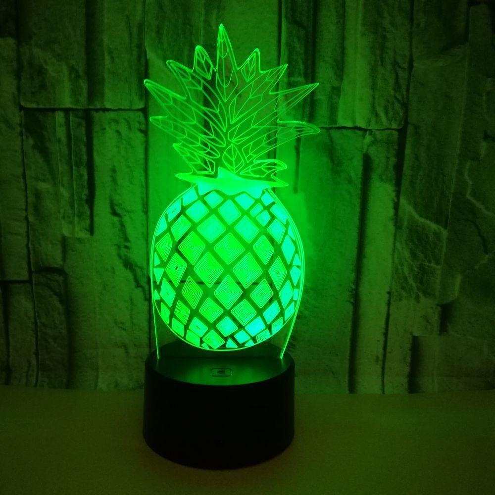 Cross Border Pineapple 3d Led Small Night-light Seven Touch Remote Control Pineapple 3d Originality Gift Small Desk Lamp