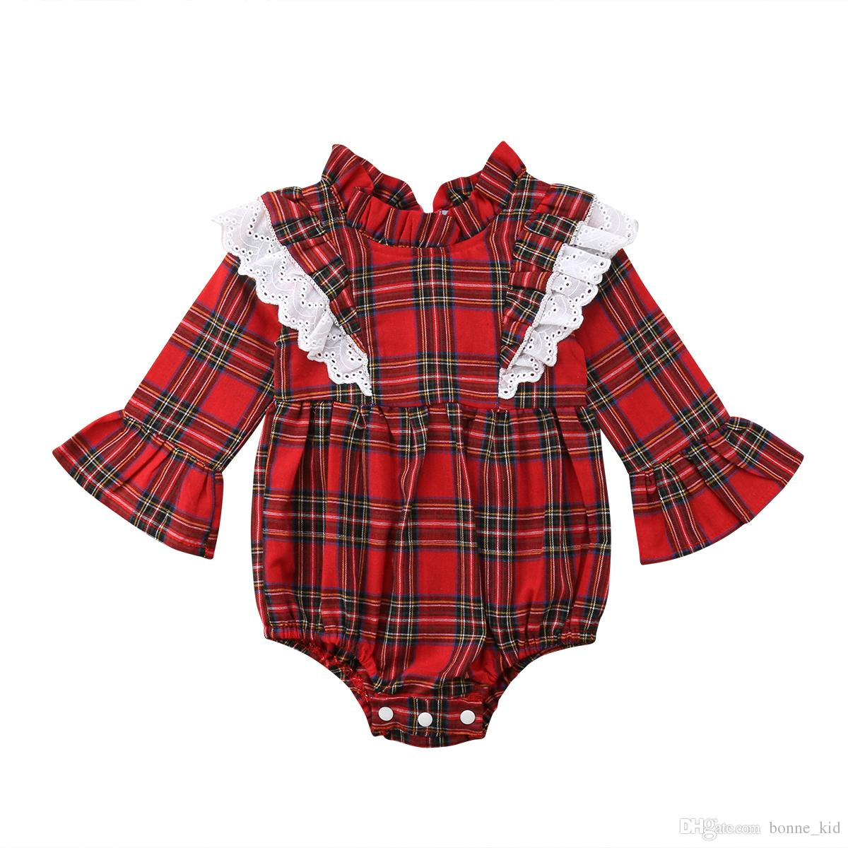 eec208c4c 2019 Newborn Baby Girls Red Plaid Long Sleeve Rompers Onesies Bodysuits  Jumpsuits Baby Girl Clothing Kids Clothes From Bonne_kid, $7.3   DHgate.Com