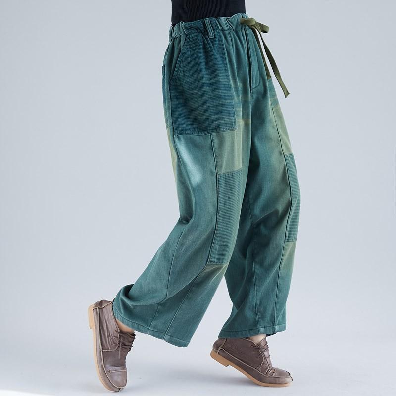 741f3f6cfb4367 Inverno Quente Denim Calças Plus Size Elástico Na Cintura Baggy Ampla perna  calça jeans Engrossar Velo Bleached Drawstring cowboy Calças