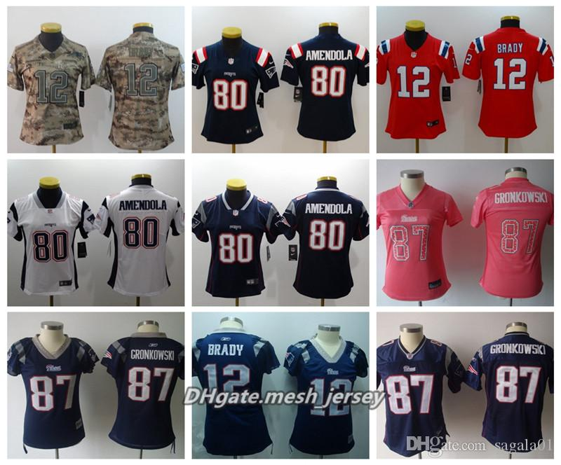 new arrival 13467 714f1 Women New American Football Patriots Jersey 87 Rob Gronkowski 12 Tom Brady  80 Danny Amendola Color Rush Stitching Jerseys