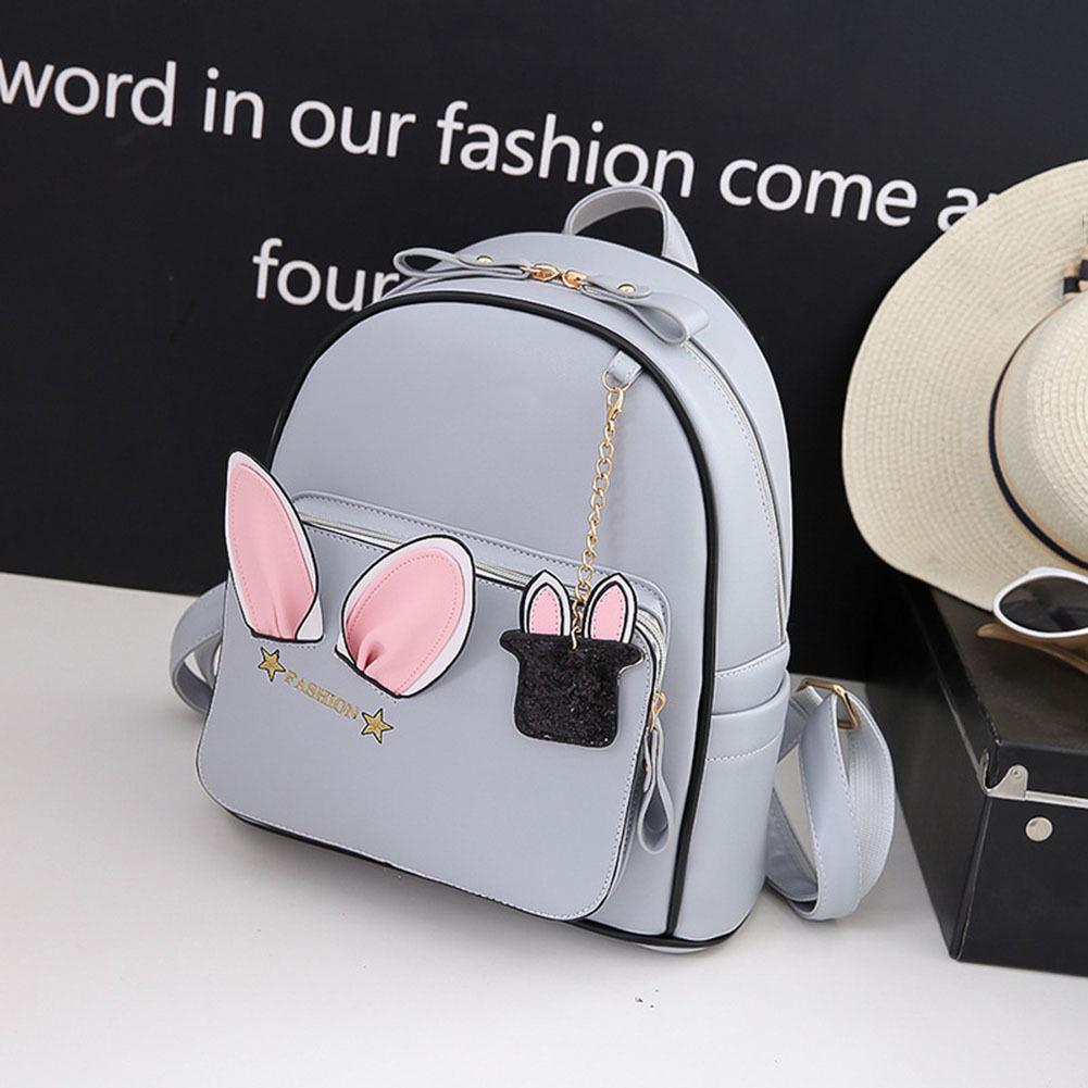 Girls School Bags Women Cute Ears Backpack Pu Leather Teenage Travel Rabbit  Double Shoulder Bag Good Quality Swiss Army Backpack Black Leather Backpack  From ... 57ca7c44d3f96