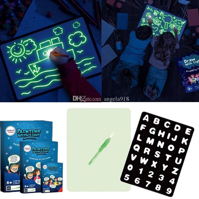 Light Drawing Fun A4 LED Luminous Drawing Board Magic Graffiti Doodle Drawing Tablet With Fluorescent Pen Art Educational Toy LA263 EMS