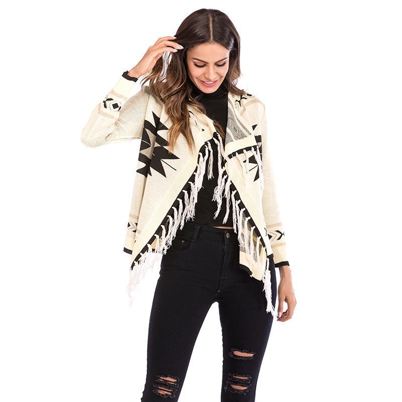 new style 46814 43f42 2019 Autunno inverno nuove donne giacca nera modello geometrico nappa  scialle cappotto colore manica lunga computer cappotto cardigan in maglia