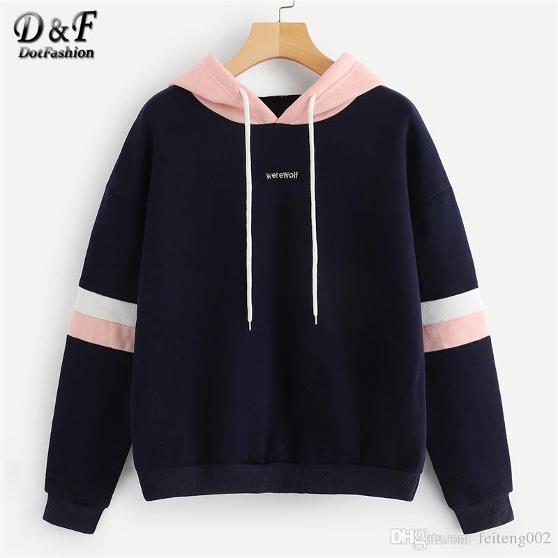 69db366b354b6 2019 Dotfashion Navy Colorblock Striped Drawstring Hoodie Women Clothes  2019 Autumn Casual Long Sleeve Womens Sweatshirt Pullovers #399772 From  Feiteng002, ...